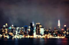 Manhattan midtown bokeh at night Stock Photos