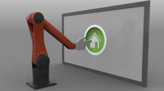Robotic arm with cursor clicking round Home button. Real estate market Stock Footage
