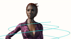 Data cables plugging into a young woman, 3D animation Stock Footage