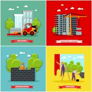 Construction site concept vector banners. Building, workers, machines, crane Stock Illustration