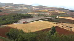 China countryside hills road pan Stock Footage