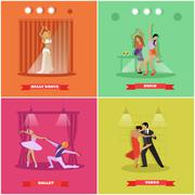 People dancing tango, ballet, disco and belly dance. Vector banners in flat - stock illustration
