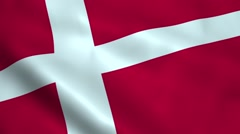 Realistic Denmark flag Stock Footage