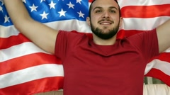 American Guy Celebrating with Flag - in Slow Motion - stock footage