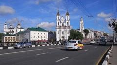 Lenina street near Resurrection church in Vitebsk Stock Footage