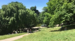 Parc des Buttes Chaumont Summertime In Paris, 4k Stock Footage