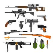 Vector set of army combat weapons. Icons isolated on white background. Gun Stock Illustration