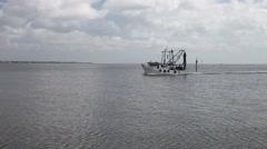 Shrimp boat returning to Kemah Marina. Stock Footage
