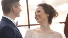 Happy groom and bride before the wedding Stock Footage