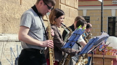 Street Musicians Gave Concert with a Saxophones on the Street Stock Footage