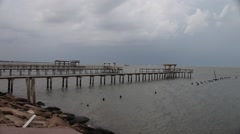 Docks in the ocean at Lighthouse District in Kemah Texas. Stock Footage