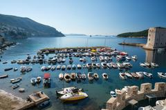 Fortress of St. Ivan and the marina in the old Dubrovnik Stock Photos