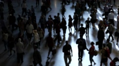 People walking on crowded street in the city at rush hour Stock Footage