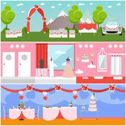Wedding ceremony design vector banners. Party interior - stock illustration