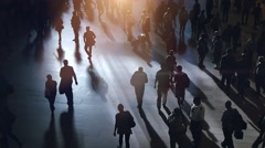 Silhouette shadow of business people commuting to work Stock Footage