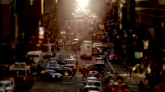 Overlooking busy city street at rush hour time. new york manhattan Stock Footage