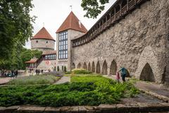 Tallinn, Estonia - July 04, 2016: People are walking in front of Former Priso Stock Photos