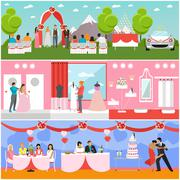 Wedding ceremony design vector banners. Party interior. Bride and groom - stock illustration