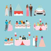 Wedding ceremony design vector isolated icons. Party objects - stock illustration
