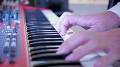 Music piano keybord playing at the party fingers lights Stock Footage
