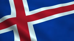 Realistic Iceland flag Stock Footage