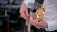 Music guitar strings playing at the party concert studio Stock Footage