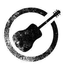 Acoustic Guitar Ink Stamp Stock Illustration