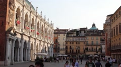 Piazza dei Signori with the Basilica Palladiana in historical centre of Vicenza Stock Footage