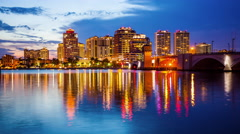 West Palm Beach, Florida City Skyline Day to Night Time Lapse Stock Footage