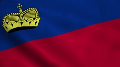 Realistic Liechtenstein flag Stock Footage