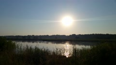 Early morning on the lake in the middle of the steppe Stock Footage