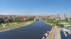 Aerial Shot City from the sea side Stock Footage