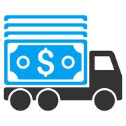 Cash Lorry Flat Vector Icon Stock Illustration