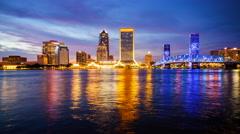 Jacksonville, Florida Day to Night City Skyline Time Lapse Stock Footage