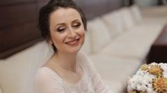 Wedding bouqet on bride hands Stock Footage