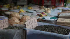 Green tea in China market Stock Footage