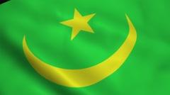 Realistic Mauritania flag Stock Footage