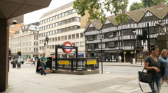 Chancery Lane station London Metro Station entrance with the The Royal Fusiliers Stock Footage