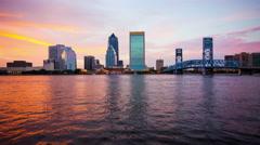 Jacksonville, Florida Skyline Day to Night Time Lapse Arkistovideo
