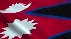 Realistic Nepal flag Stock Footage