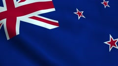Realistic New Zealand flag Stock Footage