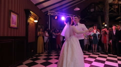 Just married couple is dancing at wedding party their first shindig Stock Footage