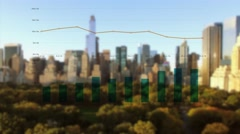 Sales data charts graph connected with city skyline background Stock Footage