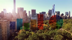 City business district and financial growths charts Stock Footage