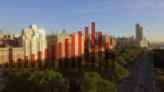 Cityscape metropolis background. business charts graphs Stock Footage