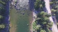 Blackfoot River Canoe Pan Up Stock Footage