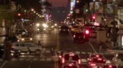 City night traffic lights. cars transpiration background Stock Footage