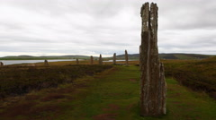 4K UltraHD Ring of Brodgar, Orkney in Scotland Stock Footage