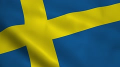 Realistic Swedish flag Stock Footage