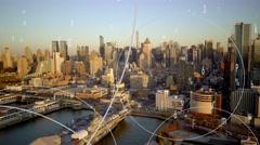 Urban city metropolis life background. data flow animation Stock Footage